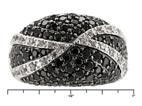 Black Spinel Sterling Silver Ring 3.47ctw