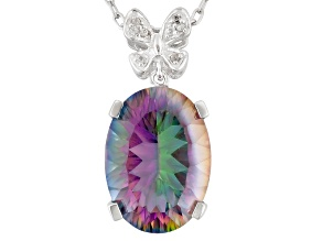 Multicolor Quartz Sterling Silver Pendant With Chain 9.49ctw