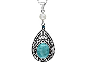 Blue Larimar Sterling Silver Pendant With Chain .03ctw