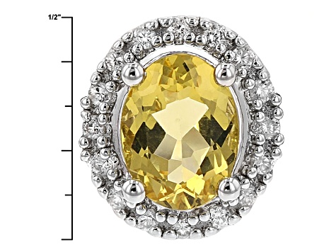 Yellow Beryl And White Zircon Sterling Silver Ring 1.32ctw