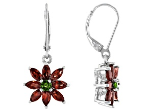 Red Vermelho Garnet Rhodium Over Sterling Silver Earrings 3.38ctw