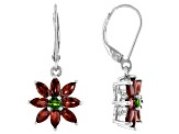 Vermelho Garnet With Chrome Diopside Rhodium Over Sterling Silver Earrings 3.38ctw