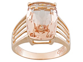 Bold 5.75ct 14x10mm Cushion Pink Peach Morganite 10k Rose Gold Solitaire Ring
