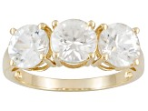 4.50ctw Round Faceted White Zircon 10kt Yellow Gold 3-Stone Ring