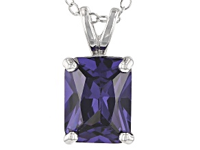 Bella Luce® 3.53ct Tanzanite Simulant Rhodium Over Silver Pendant With Chain