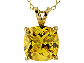 Bella Luce® 6.65ct Yellow Diamond Simulant 18k Over Silver Pendant With Chain