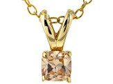 Bella Luce® .52ct Champagne Simulant 18k Gold Over Silver Pendant With Chain
