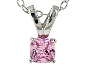 Bella Luce® .52ct Pink Diamond Simulant Rhodium Over Silver Pendant With Chain