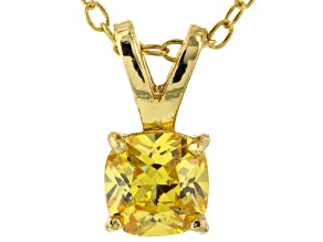 Bella Luce® .93ct Yellow Diamond Simulant 18k Over Silver Pendant With Chain