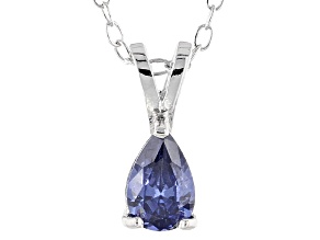 Bella Luce® .51ct Tanzanite Simulant Rhodium Over Silver Pendant With Chain