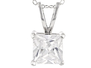 Bella Luce® 3.75ct Diamond Simulant Rhodium Over Silver Pendant With Chain
