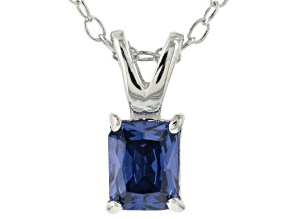 Bella Luce® .65ct Tanzanite Simulant Rhodium Over Silver Pendant With Chain