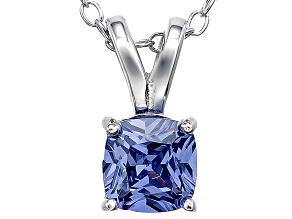 Bella Luce® .86ct Tanzanite Simulant Rhodium Over Silver Pendant With Chain