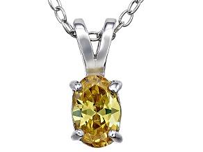 Bella Luce® .71ct Yellow Diamond Simulant Silver Pendant With Chain