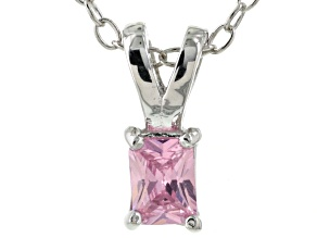 Bella Luce® .30ct Pink Diamond Simulant Rhodium Over Silver Pendant With Chain