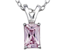 Bella Luce® .90ct Pink Diamond Simulant Rhodium Over Silver Pendant With Chain