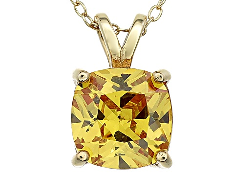 Bella Luce® 5.08ct Yellow Diamond Simulant 18k Over Silver Pendant With Chain