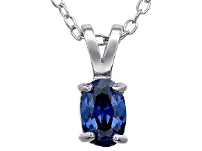 Bella Luce® .63ct Tanzanite Simulant Rhodium Over Silver Pendant With Chain