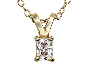 Bella Luce® .28ct Diamond Simulant 18k Gold Over Silver Pendant With Chain