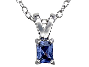 Bella Luce® .30ct Tanzanite Simulant Rhodium Over Silver Pendant With Chain
