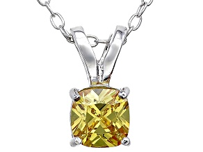 Bella Luce® .93ct Yellow Diamond Simulant Rhodium Over Pendant With Chain