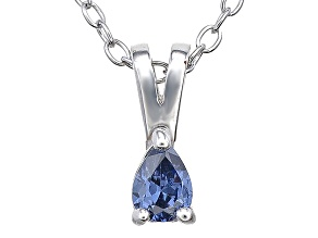 Bella Luce® .21ct Tanzanite Simulant Rhodium Over Silver Pendant With Chain