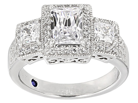 Womens 3-Stone Ring White Cubic Zirconia 4ctw Rectangle Cut Platineve