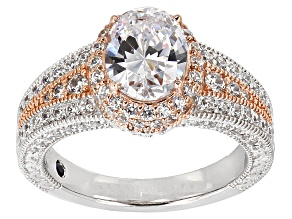White Cubic Zirconia 4ctw Platineve And 18k Rose Gold Over Silver Ring.