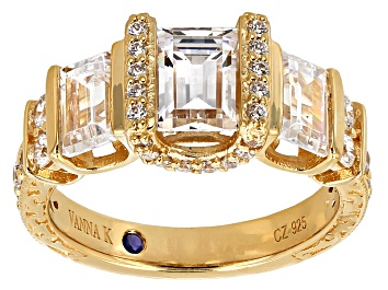 Picture of Cubic Zirconia 18k Yellow Gold Over Silver Ring 5.20ctw