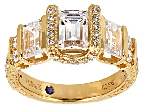 Cubic Zirconia 18k Yellow Gold Over Silver Ring 5.20ctw