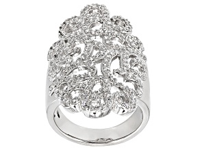 2.17ctw Cubic Zirconia Platinum Plated Sterling Silver Ring