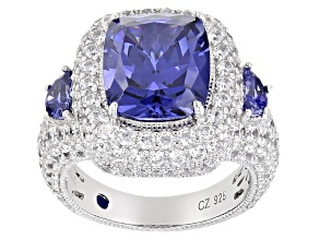 Blue And White Cubic Zirconia Platineve Ring 15.18ctw