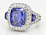 Blue And White Cubic Zirconia Sterling Silver Ring 15.18ctw