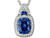 Blue And White Cubic Zirconia Platineve Pendant With Chain 12.06ctw