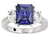 Womens 3-Stone Ring Tanzanite Color, White Cubic Zirconia 6ctw Platineve