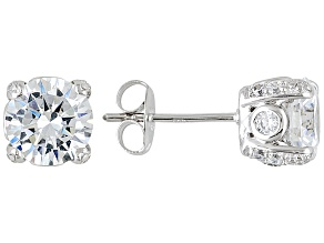 Womens Designer Stud Earrings White Cubic Zirconia 5ctw 7mm Platineve