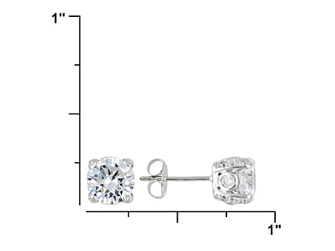 f131d3974b9b3 Womens Designer Stud Earrings White Cubic Zirconia 5ctw 7mm Platineve