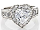 Womens Love Your Heart Ring White Cubic Zirconia 3.90ctw Platineve