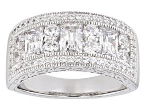 Cubic Zirconia Round Emerald Cut Platineve Ring 5.12ctw