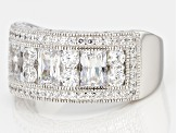 Womens Band Ring Cubic Zirconia 5ctw Round Emerald Cut Platineve