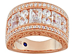 White Cubic Zirconia 18k Rose Gold Over Sterling Silver Ring 5.11ctw