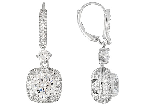8b3aa40120457 Womens Cocktail Dangle Earrings White Cubic Zirconia 9.36ctw Platineve