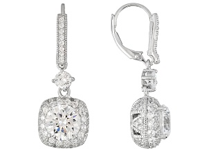 Womens Cocktail Dangle Earrings White Cubic Zirconia 9.36ctw Platineve