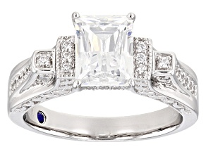 White Cubic Zirconia Emerald Cut Platineve Womens Engagement Ring 3.80ctw