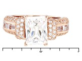 Cubic Zirconia 18k Rose Gold Over Silver Ring 6.81ctw