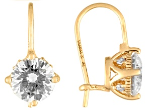 White Cubic Zirconia 18k Yellow Gold Over Sterling Silver Earrings 4.52ctw