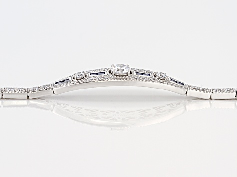 Blue And White Cubic Zirconia Platineve Bracelet 6.94ctw