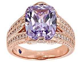 Purple And White Cubic Zirconia 18k Rose Gold Over Silver Ring 10.76ctw