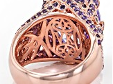 Purple Cubic Zirconia 18k Rose Gold Over Silver Ring 16.70ctw