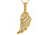 White Cubic Zirconia 18k Yellow Gold Over Sterling Silver Wing Pendant With Chain .95ctw